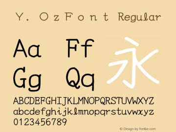 Y.OzFont Regular Version 9.37 Font Sample