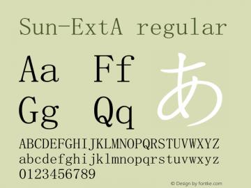 Sun-ExtA regular Version 1.00 Font Sample