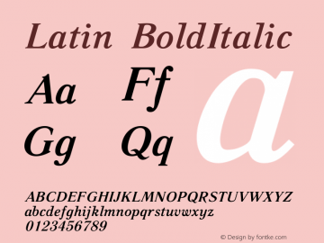 Latin BoldItalic Version 5 - 8.07.2006 Font Sample