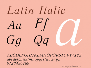 Latin Italic Version 11 - 26.07.2006 Font Sample