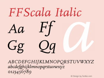 FFScala Italic Version 001.001 Font Sample