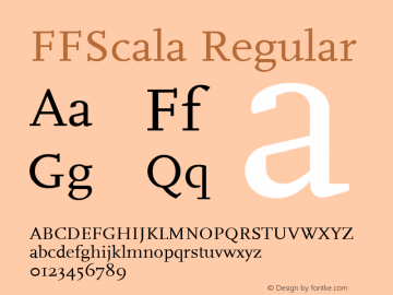 FFScala Regular Altsys Metamorphosis:9/17/98 Font Sample