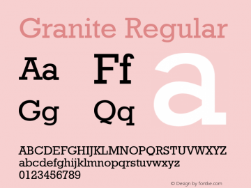 Granite Regular Font Version 2.6; Converter Version 1.10 Font Sample