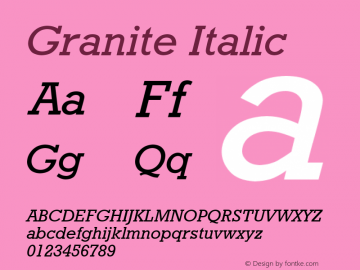 Granite Italic Font Version 2.6; Converter Version 1.10 Font Sample