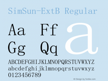 SimSun-ExtB Regular Version 5.00 Font Sample