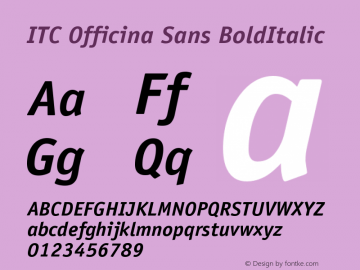 ITC Officina Sans BoldItalic Version 001.000 Font Sample