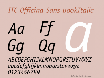 ITC Officina Sans BookItalic Version 001.000 Font Sample