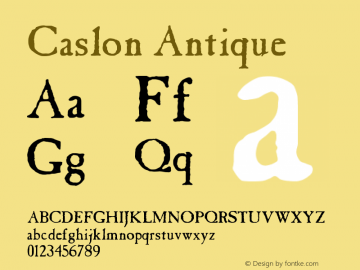 Caslon Antique Version 001.000 Font Sample
