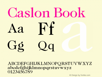 Caslon Book Version 001.000 Font Sample