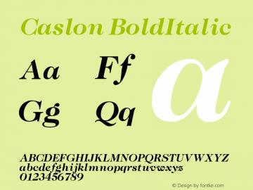 Caslon BoldItalic Version 001.000 Font Sample