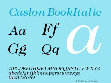 Caslon BookItalic Version 001.000 Font Sample
