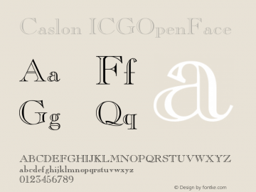 Caslon ICGOpenFace Version 001.000 Font Sample