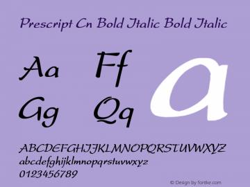 Prescript Cn Bold Italic Bold Italic Unknown Font Sample