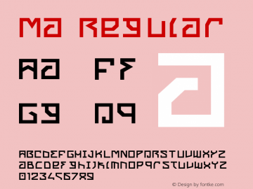 Ma Regular Version 001.000 Font Sample