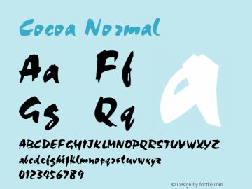 Cocoa Normal 1.0/1995: 2.0/2001 Font Sample