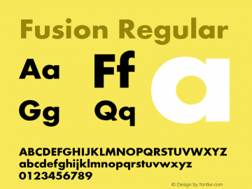 Fusion Regular Converted from D:\TEMP\FUSI1F3D.TF1 by ALLTYPE Font Sample