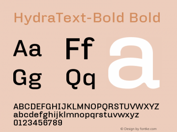 HydraText-Bold Bold Version 004.460 Font Sample