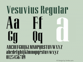 Vesuvius Regular Converted from d:\allfonts\VESUVIUS.FF1 by ALLTYPE Font Sample
