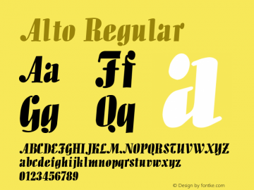 Alto Regular Unknown Font Sample