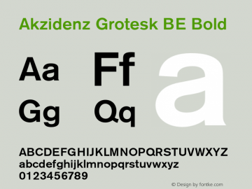 Akzidenz Grotesk BE Bold OTF 1.0;PS 001.001;Core 1.0.22 Font Sample