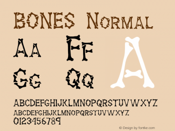 BONES Normal 1.0 Tue Oct 26 16:53:38 1993 Font Sample