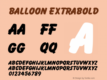 Balloon ExtraBold Version 001.000 Font Sample