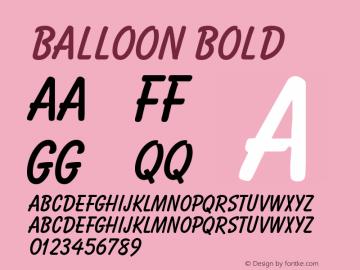 Balloon Bold Version 001.000 Font Sample