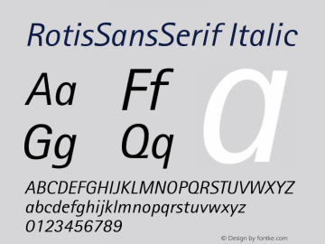 RotisSansSerif Italic Version 001.000 Font Sample