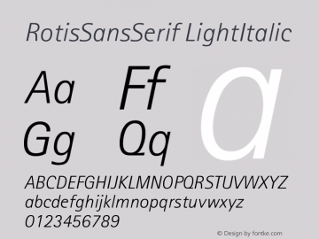 RotisSansSerif LightItalic Version 001.000 Font Sample