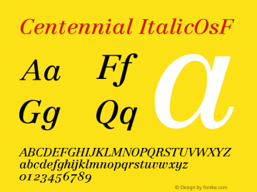 Centennial ItalicOsF Version 001.000图片样张