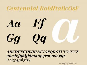 Centennial BoldItalicOsF Version 001.000图片样张