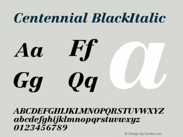 Centennial BlackItalic Version 001.000图片样张