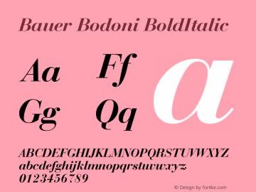 Bauer Bodoni BoldItalic Version 003.001 Font Sample