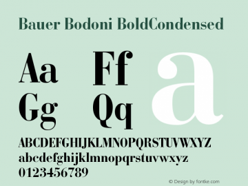 Bauer Bodoni BoldCondensed Version 003.001 Font Sample