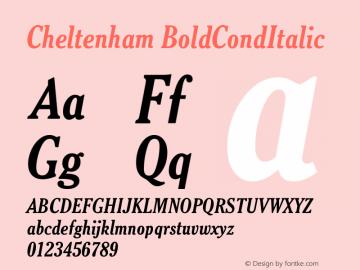 Cheltenham BoldCondItalic Version 003.001 Font Sample