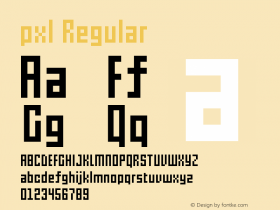 pxl Regular Version 1.00 July 2, 2012, initial release图片样张