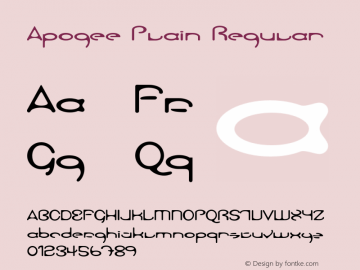 Apogee Plain Regular Unknown Font Sample