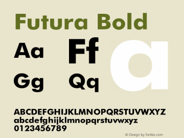 Futura Bold Version 003.001 Font Sample