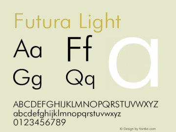 Futura Light Version 003.001 Font Sample