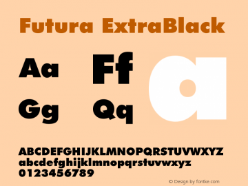 Futura ExtraBlack Version 003.001 Font Sample