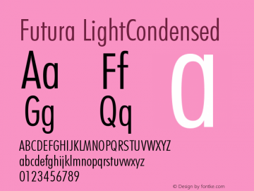 Futura LightCondensed Version 003.001 Font Sample