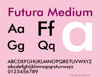 Futura Medium Version 003.001 Font Sample