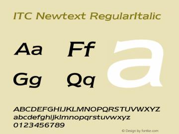 ITC Newtext Font,ITC Newtext Regular Italic Font