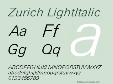 Zurich LightItalic Version 003.001图片样张