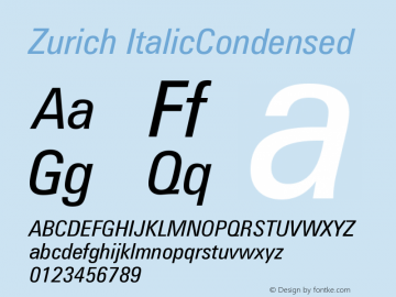 Zurich ItalicCondensed Version 003.001图片样张
