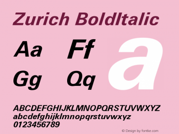 Zurich BoldItalic Version 003.001图片样张