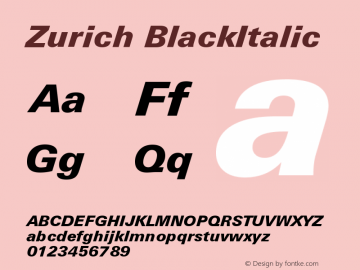 Zurich BlackItalic Version 003.001图片样张