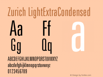 Zurich LightExtraCondensed Version 003.001图片样张