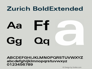 Zurich BoldExtended Version 003.001图片样张
