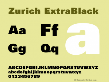 Zurich ExtraBlack Version 003.001图片样张